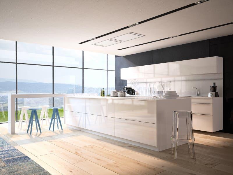 有不锈钢装置的豪华厨房 免版税库存图片