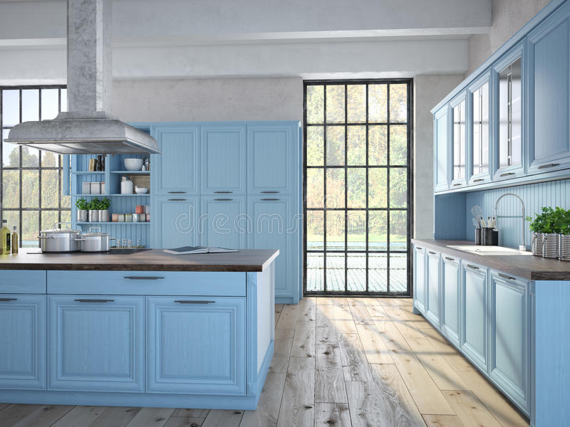 有不锈钢装置的豪华厨房 库存照片