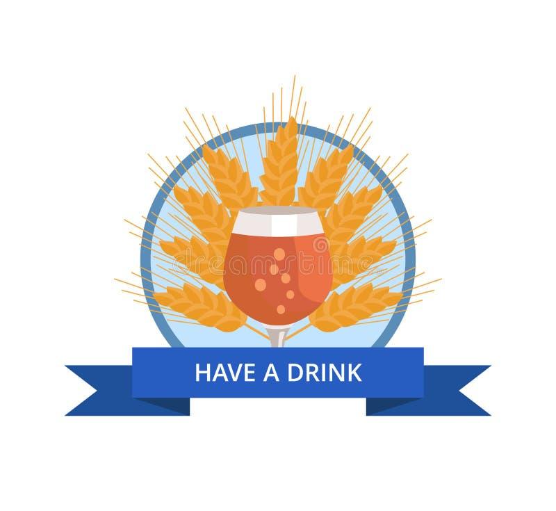 有与郁金香杯的饮料商标在麦子的啤酒 皇族释放例证
