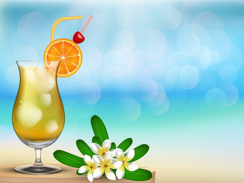有与饮料和花的一个好的假期夏天海滩 皇族释放例证