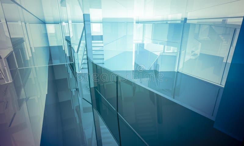 有专栏和大窗口的,室内buildi Lobby.Empty办公室 皇族释放例证