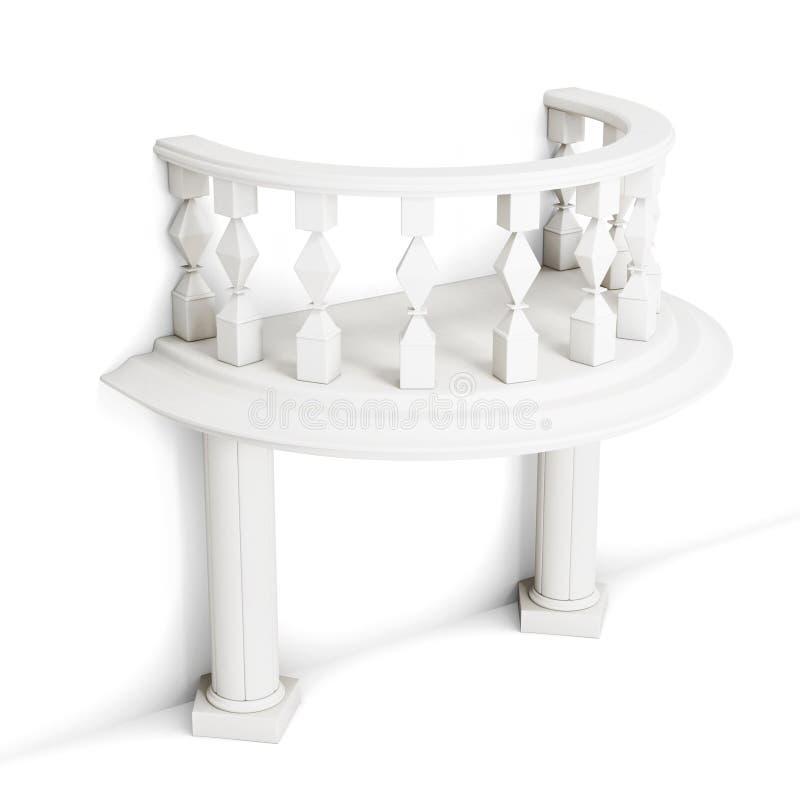 有专栏的装饰阳台在白色背景 3d 向量例证