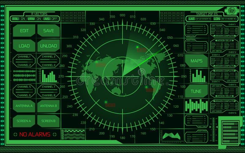 有世界地图、目标和未来派用户界面的数字式绿色雷达显示器在黑暗的背景 库存例证