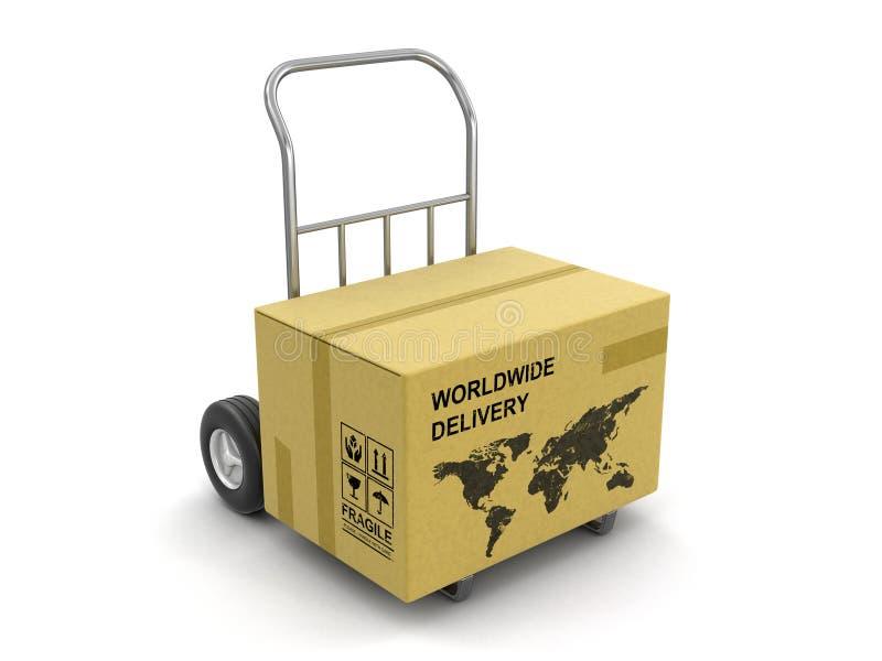 有世界地图的纸板箱在手边卡车 向量例证