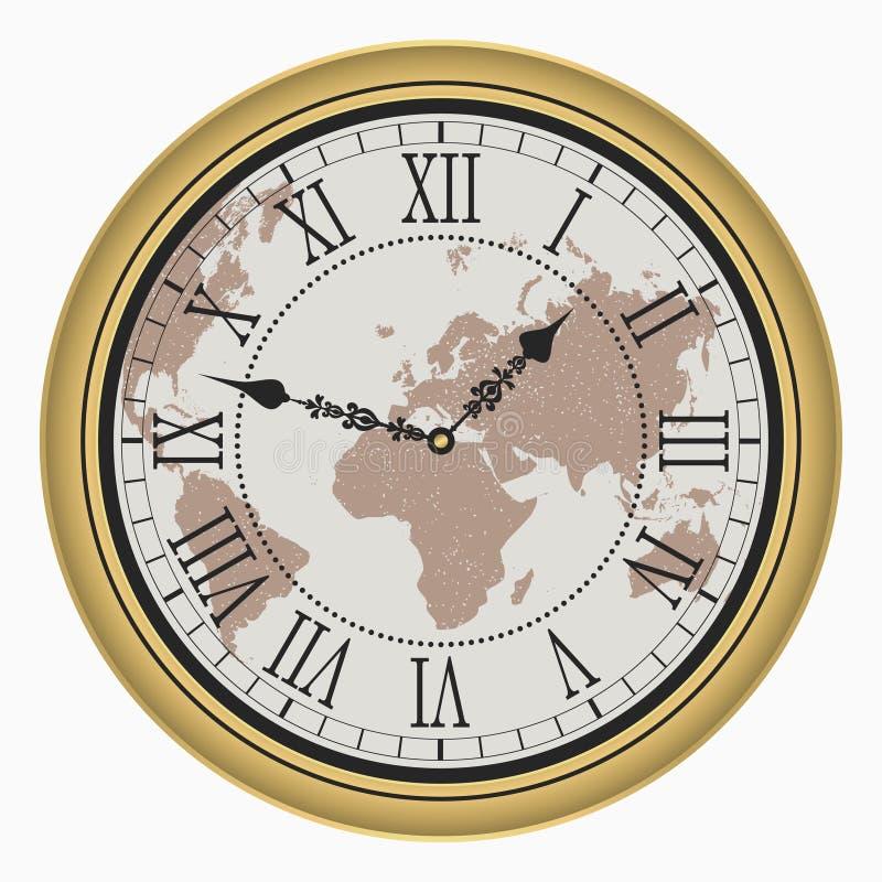 有世界地图的葡萄酒时钟 有罗马数字的古色古香的金黄墙壁时钟面孔拨号盘 向量 向量例证