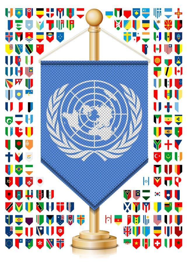 有世界旗子的旗竿 库存例证