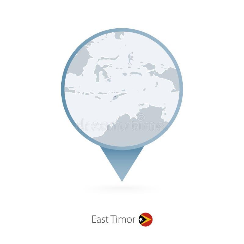有东帝汶和邻国详细的地图的地图别针  皇族释放例证