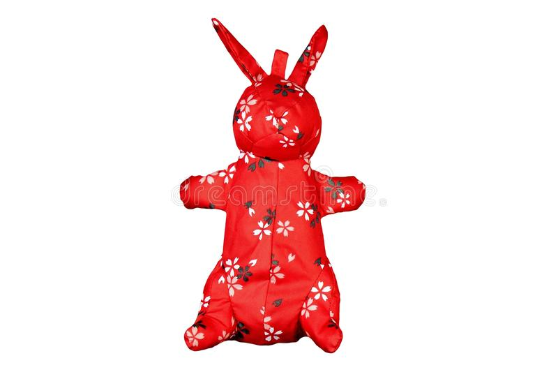 有东方样式的,中国传统红色兔子布料玩具 免版税库存照片