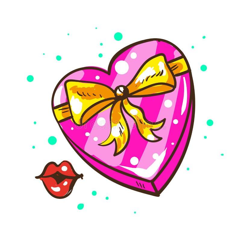 有丝带弓和亲吻的当前心形的礼物盒被隔绝的 向量例证
