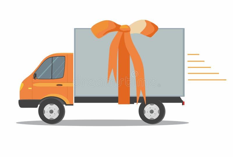 有丝带的橙色送货车在白色背景 运输运输的产品物品 快速的服务卡车 皇族释放例证