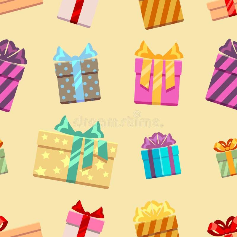 有丝带的礼物盒鞠躬无缝的样式 皇族释放例证