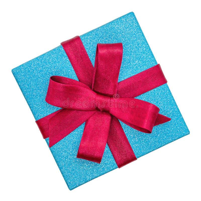 有丝带的美丽的礼物盒,隔绝在白色背景 库存图片