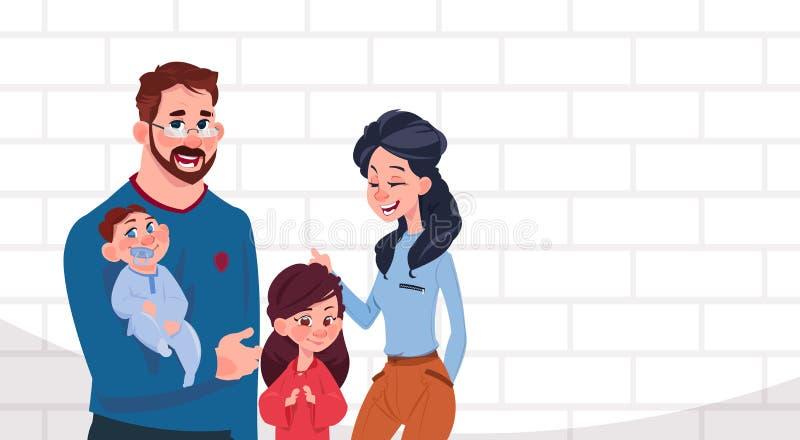 有两个孩子的站立在与拷贝空间动画片的白色砖墙背景的女儿和儿子年轻家庭父母 向量例证