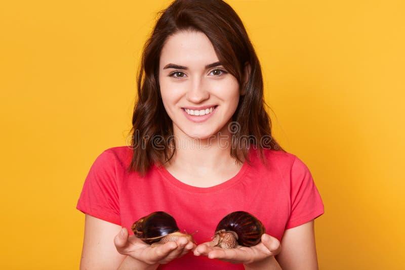 有两个巨型Achatina蜗牛立场的年轻女人在黄色背景,穿桃红色偶然T恤杉,摆在与暴牙的微笑, 免版税库存图片