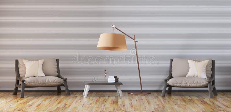 有两个扶手椅子3d翻译的客厅 库存例证