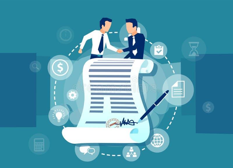 有两个的商人传染媒介站立在一个签的合同后的协议 库存例证