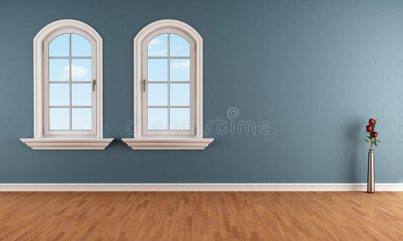 有两个被成拱形的窗口的蓝色室 皇族释放例证