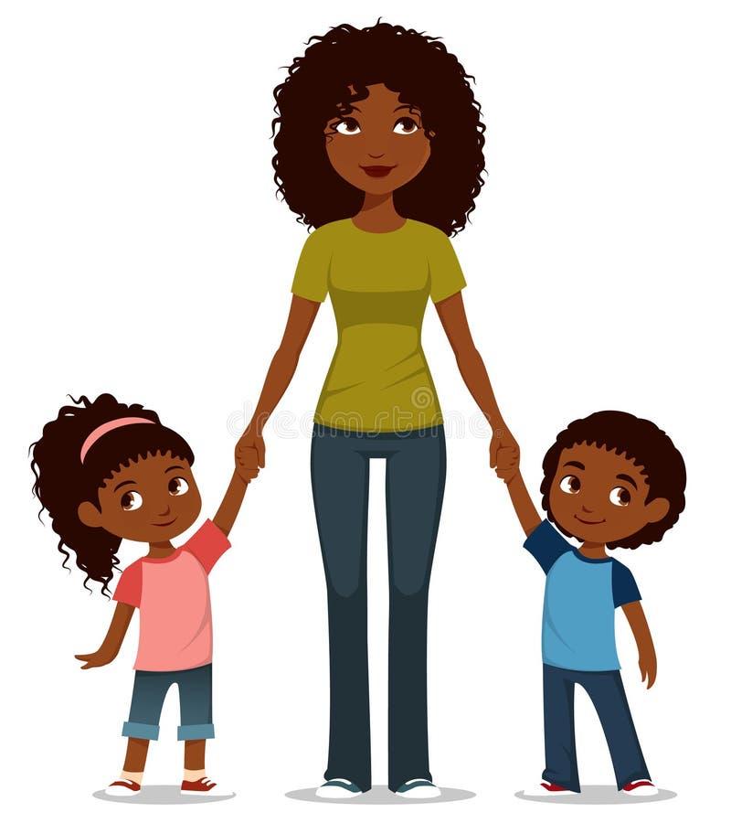 有两个逗人喜爱的孩子的非裔美国人的母亲 皇族释放例证