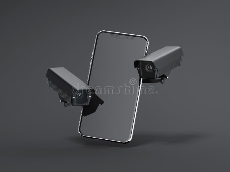 有两个黑间谍凸轮的现代智能手机 3d翻译 向量例证