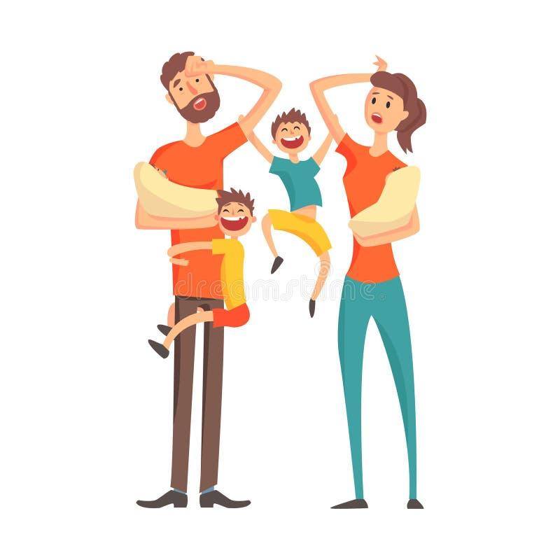 有两个婴孩和两个更老的儿子的,一部分疲乏的年轻父母的漫画人物家庭成员系列  库存例证