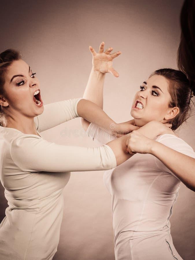 有两名积极的妇女争论战斗 免版税库存图片