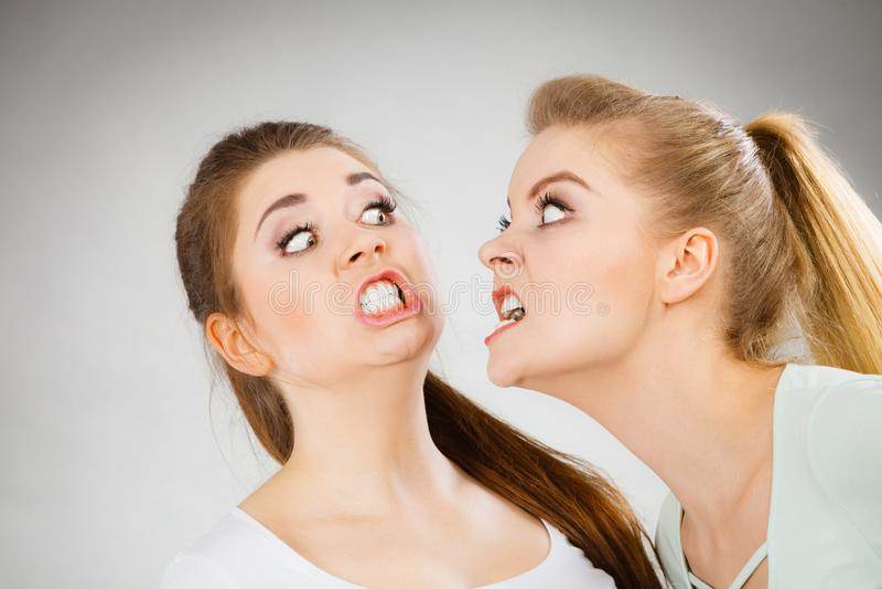 有两名积极的妇女争论战斗 库存图片