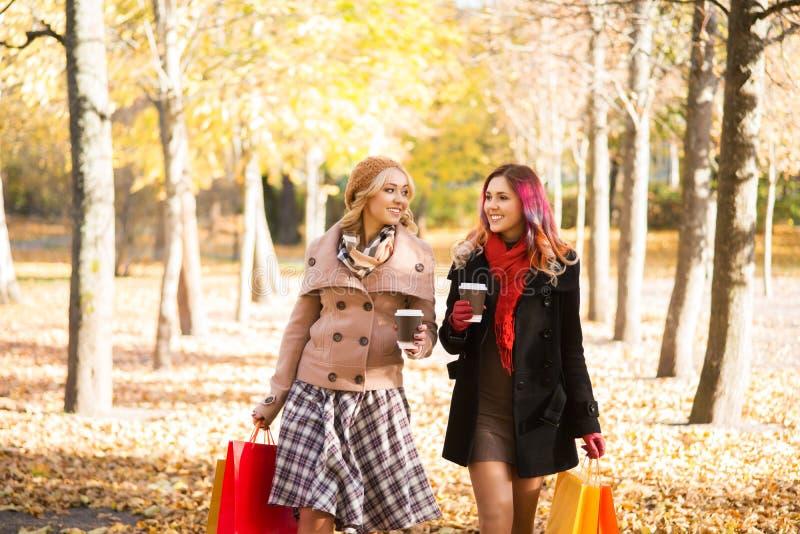 有两名美丽的妇女一次松弛交谈用咖啡 图库摄影
