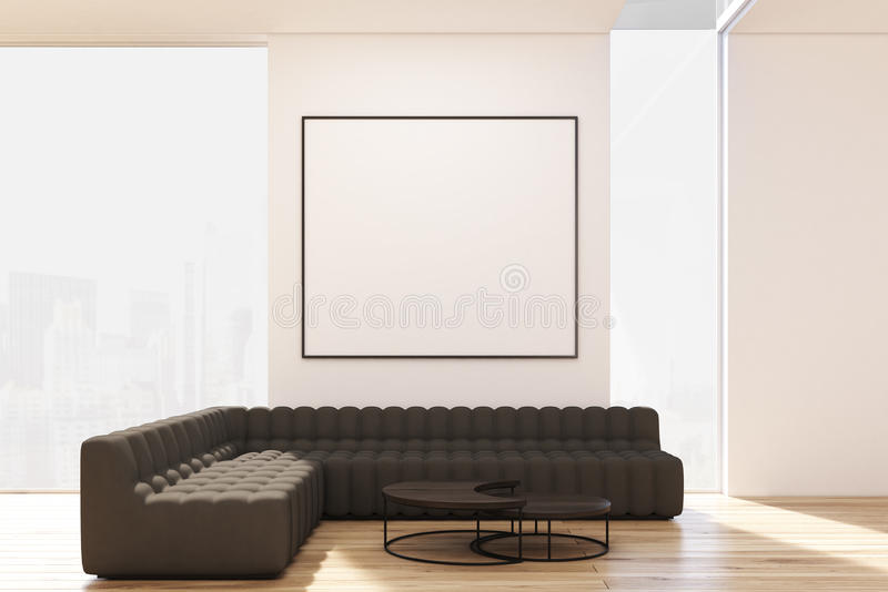 有两张沙发和海报的客厅 皇族释放例证