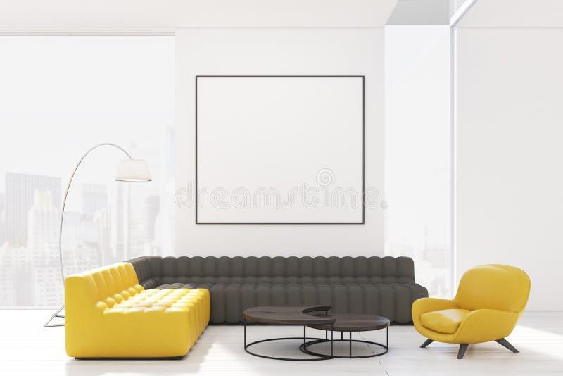 有两把沙发和扶手椅子的客厅 库存例证