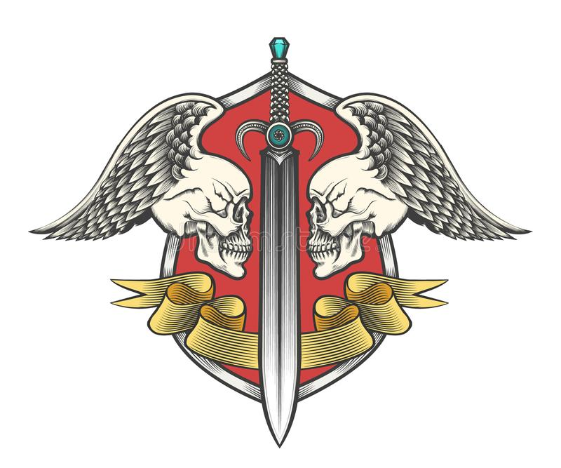 有两条飞过的头骨和丝带的剑 向量例证