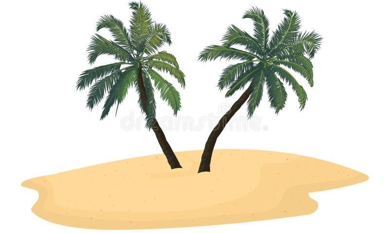 有两棵棕榈树的被隔绝的沙子海岛 向量例证