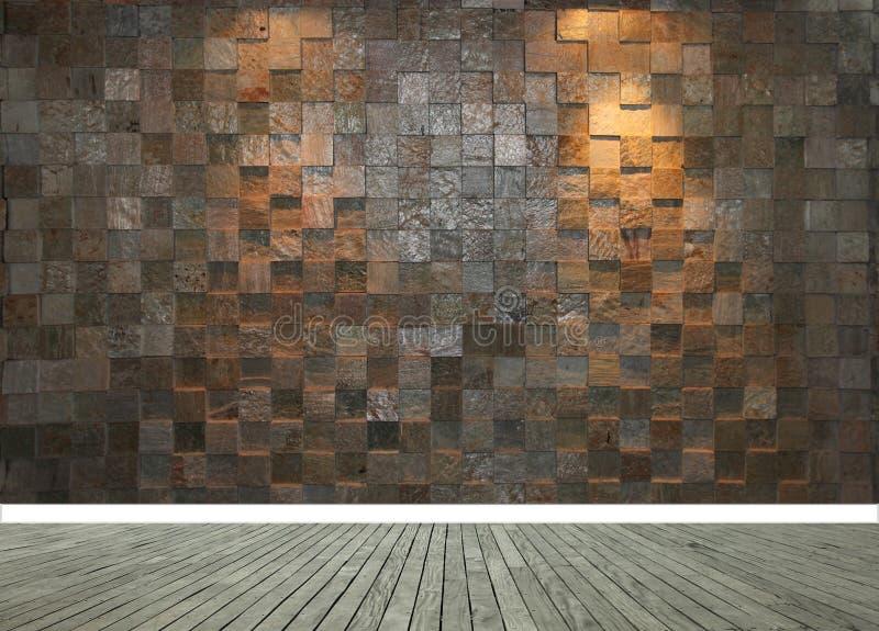 有两盏聚光灯和灰色木地板的石墙 图库摄影