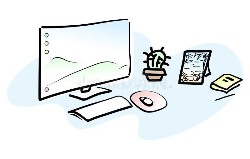 有个人计算机的工作场所 做自由职业者或设计师工作区剪影  向量 库存例证