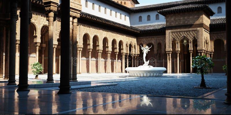 有中东建筑学影响和喷泉的开放庭院 图库摄影