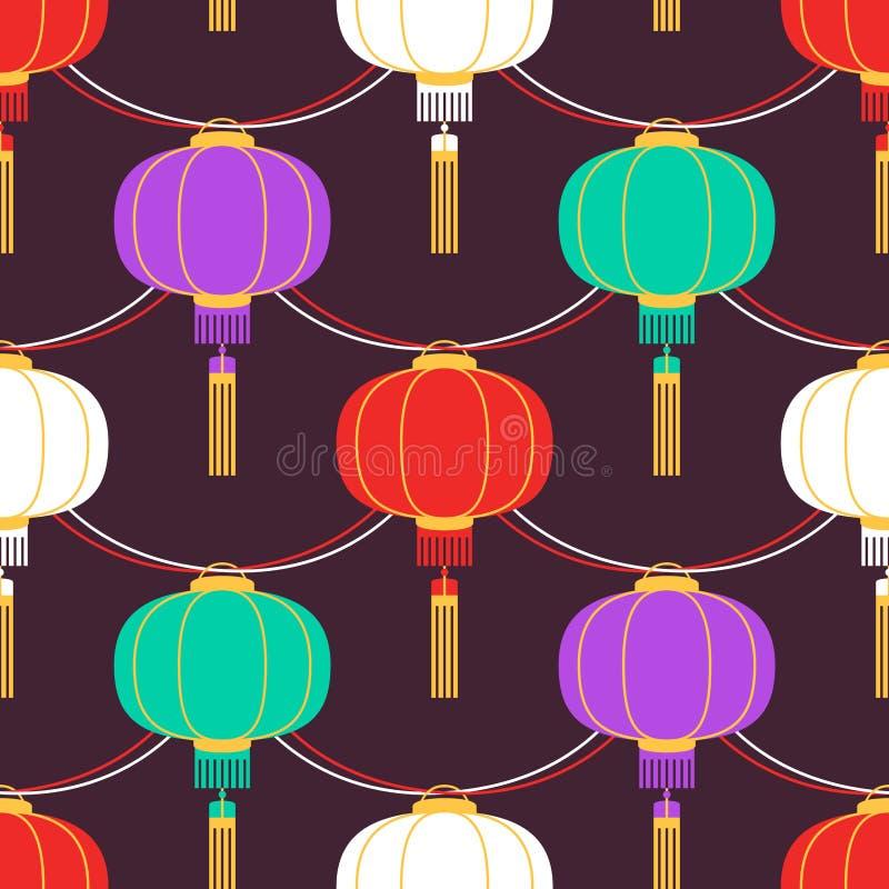 有中国灯笼环形轧材的颜色诗歌选 传染媒介无缝的样式可以为招呼的海报,党邀请使用 库存例证