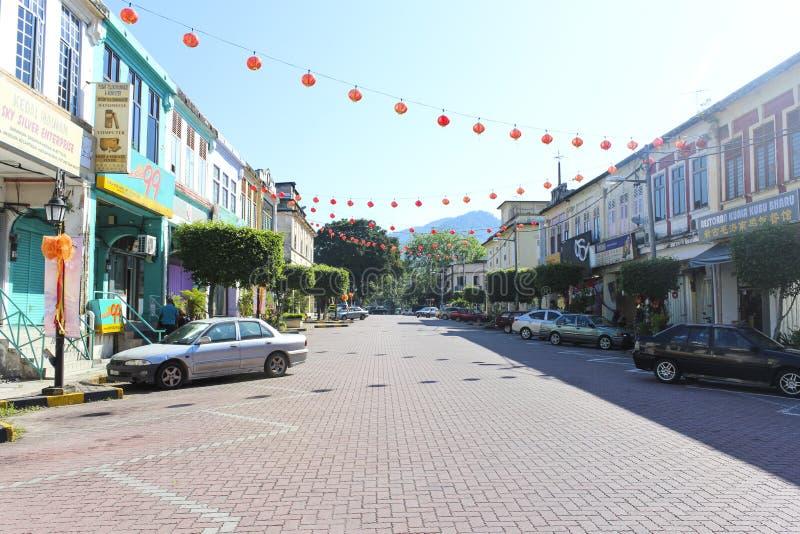 有中国灯笼的城市 免版税库存图片