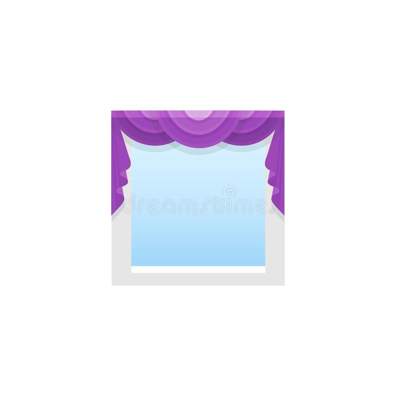 有中央布的紫色织品帷幕 与3赃物的窗帘 向量例证