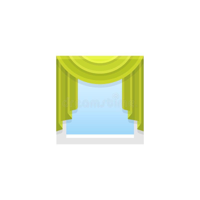 有中央赃物布的绿色织品帷幕 传染媒介illustrat 皇族释放例证