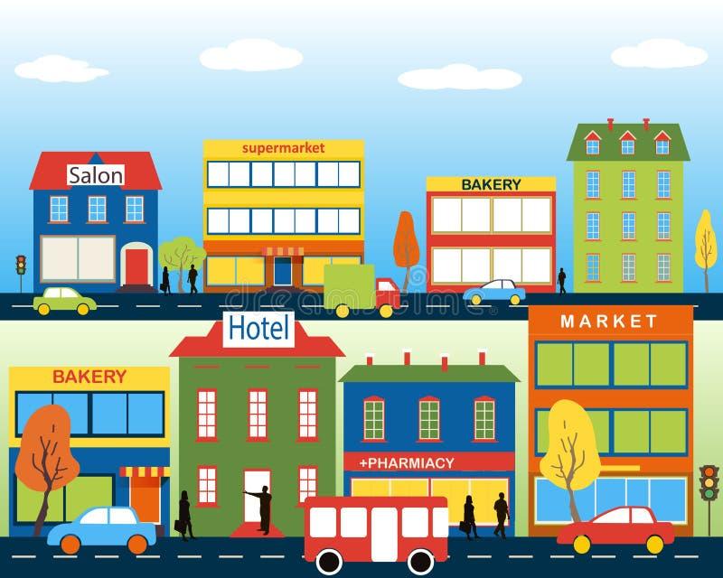有中小商业的小镇 向量例证