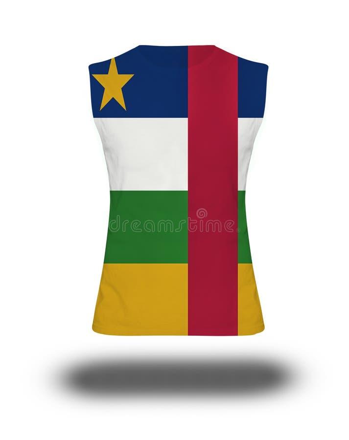 有中非共和国旗子的运动无袖的衬衣在白色背景和阴影 皇族释放例证