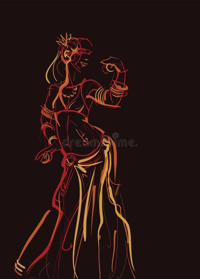 有举行传神印象深刻的铙钹的部族肚皮舞表演者 向量例证
