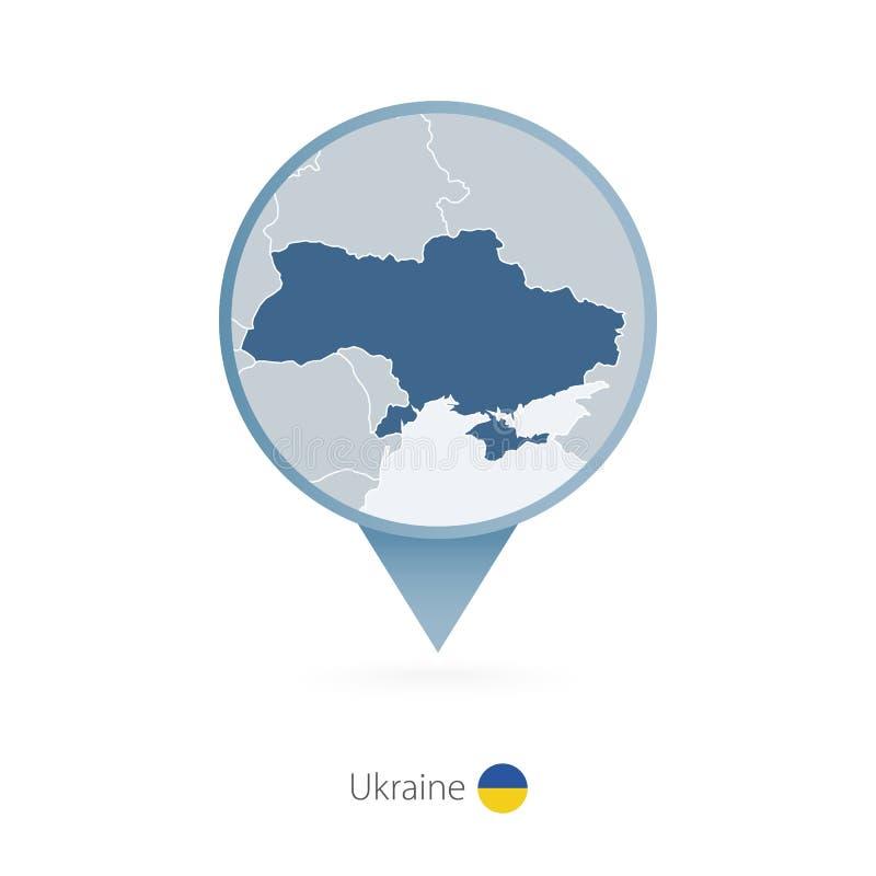 有乌克兰和邻国详细的地图的地图别针  向量例证