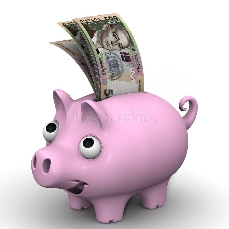 有乌克兰hryvnia的钞票的猪存钱罐 向量例证