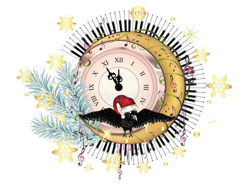 有乌鸦的减速火箭的时钟 向量例证