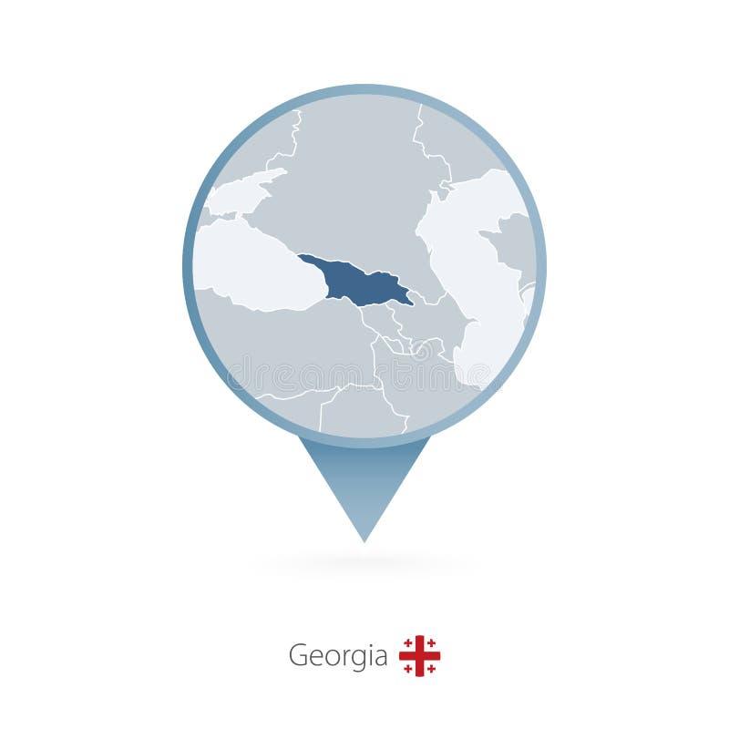 有乔治亚和邻国详细的地图的地图别针  皇族释放例证