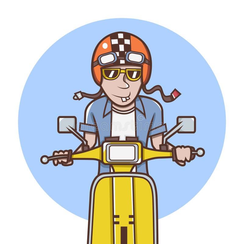 有乘坐一辆黄色滑行车的橙色盔甲的人 向量例证