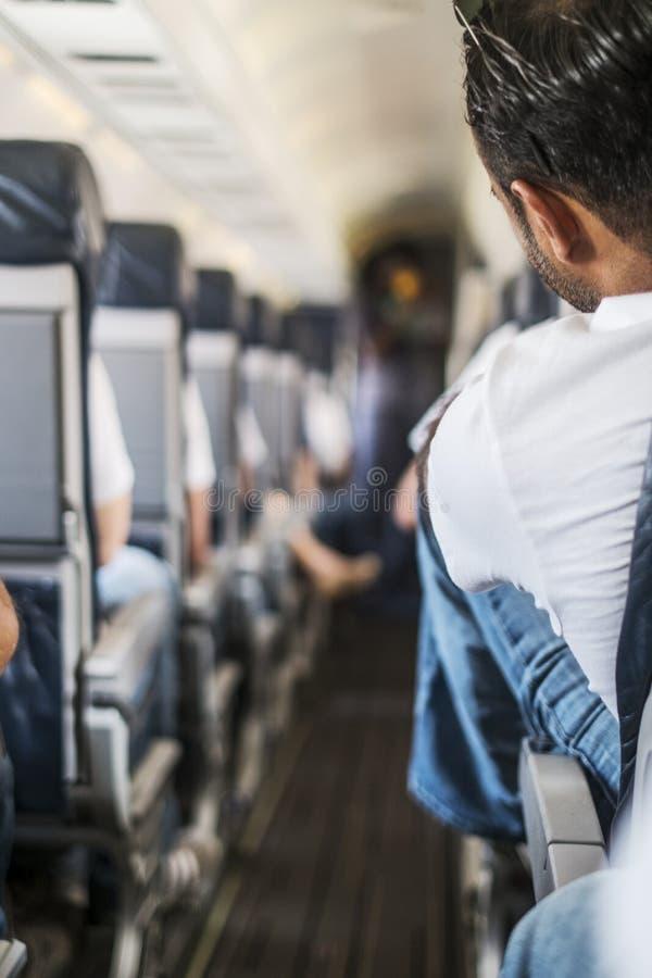 有乘客的小飞机走廊 库存图片
