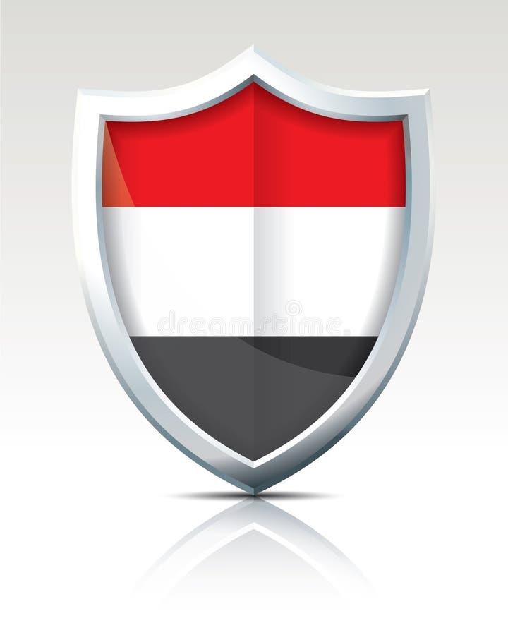 有也门的旗子的盾 向量例证
