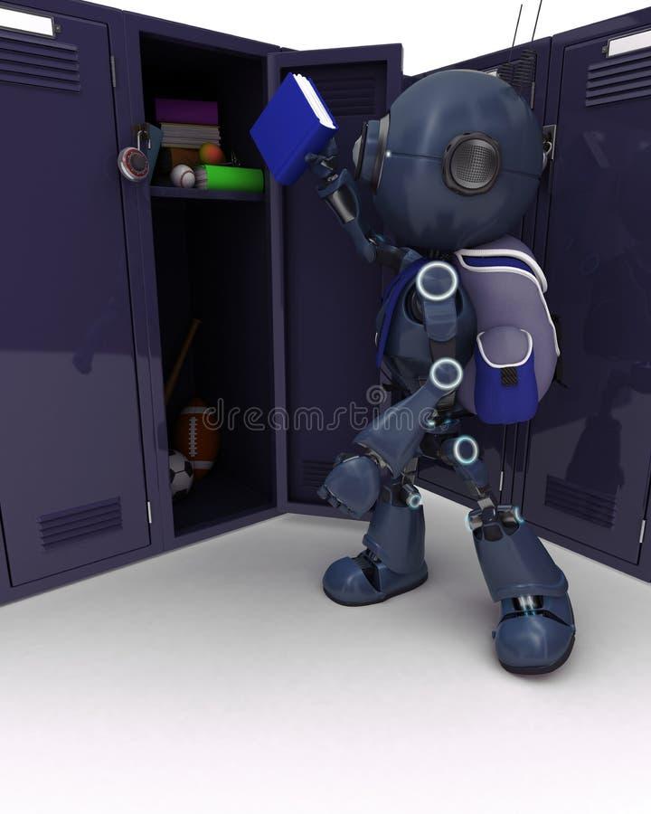 有书包和衣物柜的机器人 库存例证
