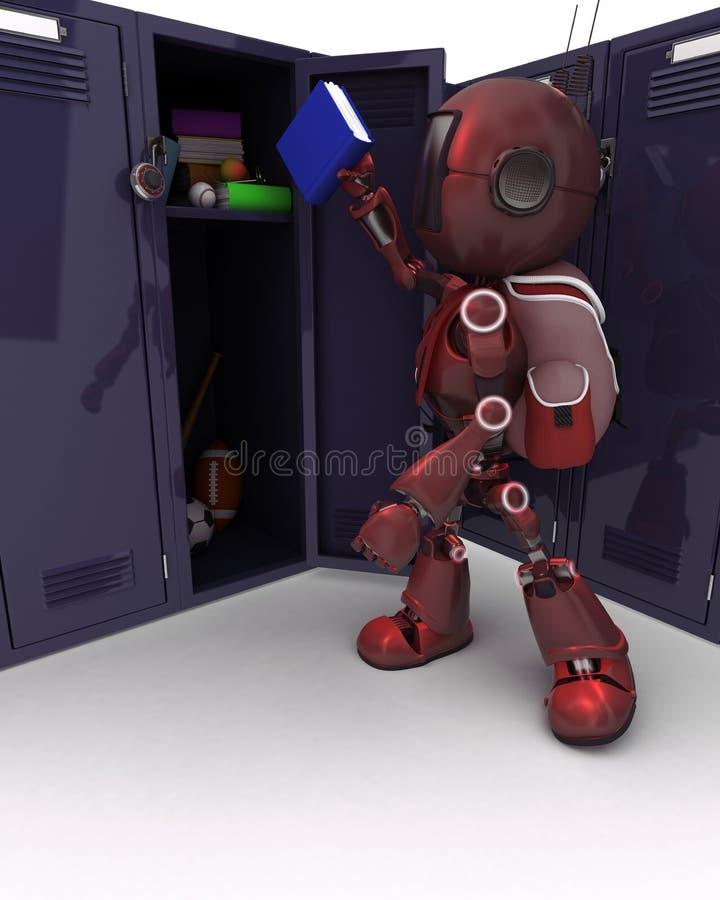 有书包和衣物柜的机器人 向量例证
